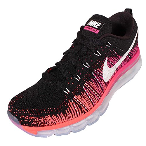 Nike Wmns Flyknit Max Women Run Running Sneakers New Black Black / White-pink Foil-hyper Orange