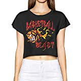 Richard Women Basketball Beast On Fire Sports Hiking Black Short Sleeve Crop Top Shirts M
