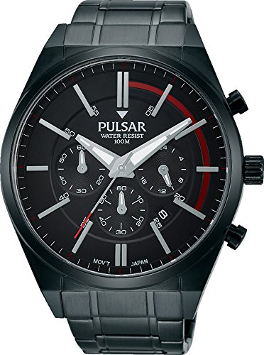 PT3705X1 Pulsar Mens Black Ion Plated Stainless Steel Bracelet Chronograph Watch