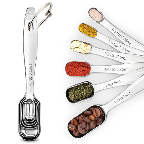 SUNKUKA 6-Piece Stainless Steel Measuring Spoon Set for Dry and Liquid with Narrow Shape, Easy to fit in Spice Jars