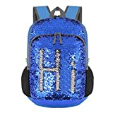 Bekahizar 20L Reversible Sequin Backpack Foldable Bling Mermaid Daypack Bag Magic Small Travel