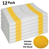 yellow dish cloth - Dish Towel Set of 12, With Loop, Large Vintage Style 100% Cotton 28X20 - Longer Lasting, Super Absorbent Dishcloths in White with Yellow Stripes - Herringbone Design for Faster Drying & Low Lint