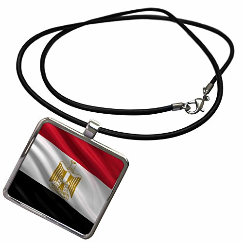 3dRose Carsten Reisinger - Illustrations - Flag of Egypt Waving in The Wind - Necklace with Rectangle Pendant (ncl_178738_1)