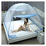Folding Mosquito Net, Yurt Pop Up Encryption Lace Double Door Anti-Mosquito with Bottom Tent, Bedroom Decor Travel Insect Repellent Netting,Blue,King180x200cm