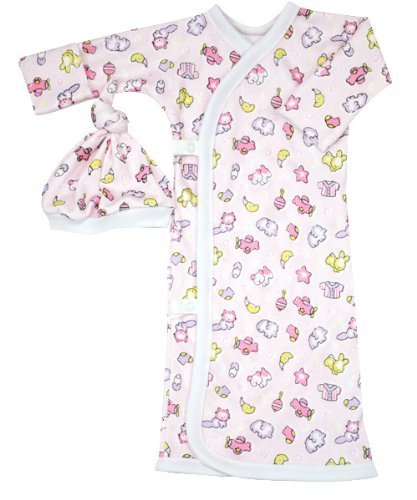 Baby Girls Checked Toys 100% Cotton Side Snap Gown Available in 2 Preemie Sizes - Tiny & Preemie (Preemie (3-6lbs))