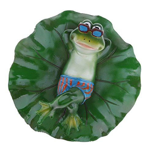 (Joysiya Water Floating Lotus Leaf with Frog Ornament Figurine Statue Craft for Home Garden Pond Decoration Photo Prop Gift - Lying)