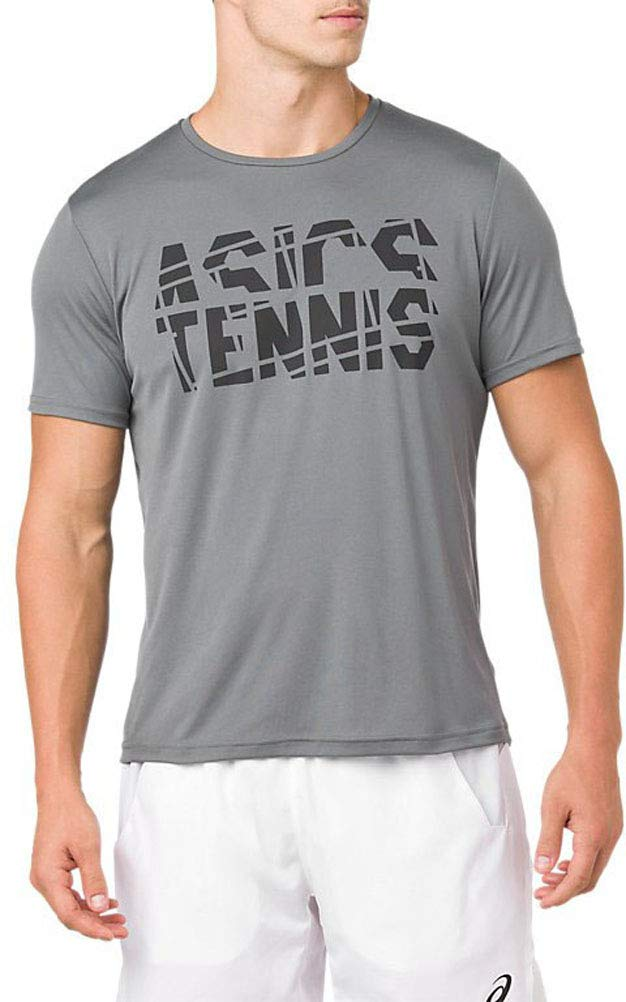 ASICS - Mens Practice Ss Top, Size: Medium, Color: Steel Grey