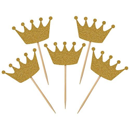 I-MART Pack of 20 Gold Glitter Crown Cupcake