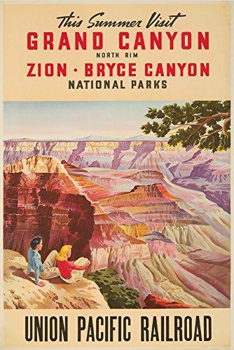 Union Pacific Railroad - Grand Canyon Vintage Poster USA c. 1955 (12x18 Fine Art Print, Home Wall Decor Artwork Poster)