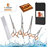 AEXYA Premium Dog Grooming Scissors Kit - Pet Groom Hair Tool Set Stainless Steel - Straight, Thinning and Curved Sharp Shears for Small or Large Dogs, Cats or Other Pets 4SB