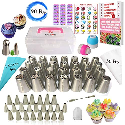 RFAQK- 90 Pcs Russian piping tips set with storage case - Cake decorating supplies kit - 54 Numbered easy to use icing nozzles (28 Russian + 25 Icing + 1 Ball tip) - Pattern chart, Ebook User Guide]()