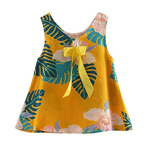 Toddler Girls Summer Floral Dress Sleeveless Sundress,Crytech Soft Comfy Leaf Flower Print Tank Princess One Piece Skirt with Bow for Baby Girls Casual Nightwear Clothes (3-4 Years, Yellow)