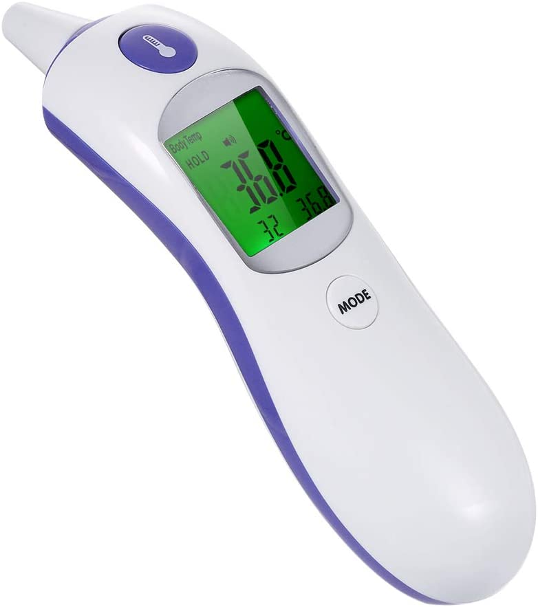 Festnight Digital IR Infrared Body Fever Thermometer Adult Children Forehead and Ear Thermometer for Baby Kids and Adults Grey