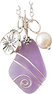 "product image for Handmade in Hawaii,""Magical Color Changing"" purple wire wrapped sea glass necklace, Hibiscus charm, freshwater pearl,""February Birthstone"", (Hawaii Gift Wrapped"