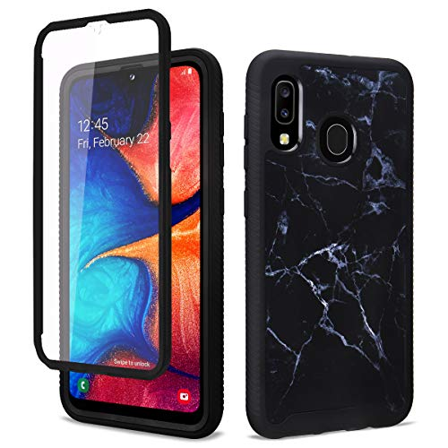 GOLINK Full Body Shockproof Protective Case with Built-in Screen Protector for Galaxy A20 Galaxy A30-Black Marble