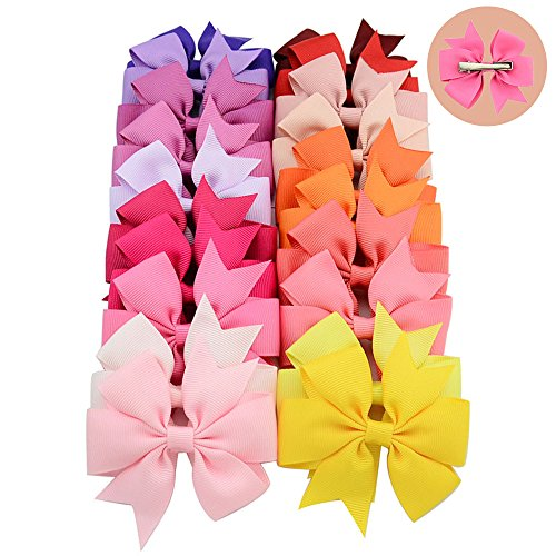 20pcs/lot 8.5x8cm(3.3X3.1 inch) Mixed 20 colors Grossgrain Big Bows with Clip Girls Boutique Hair Bow (Color 2) ()