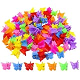 WEFOO 100 Pack Butterfly Hair Clips for Girls and Women, Beautiful Bulk Small Mini Butterfly Hair Clips, Assorted Color