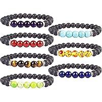 YISSION 7 Pack 7 Chakras Gemstone Bracelet Natural Stones Stretch Bracelets Yoga Reiki Prayer Beads Diffuser Bracelet