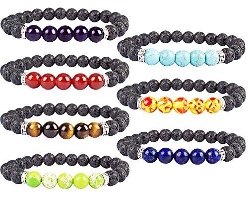 Mens Natural Gemstone Bracelet (YISSION 7 Pack 7 Chakras Gemstone Bracelet Natural Stones Stretch Bracelets Yoga Reiki Prayer Beads Lucky Bracelet)
