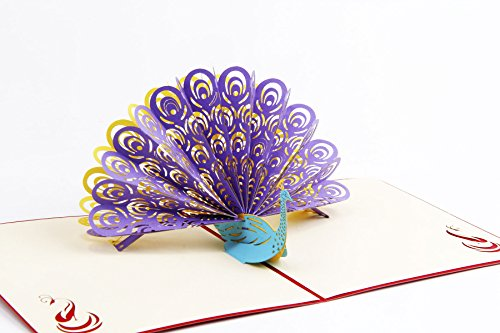 Peacock 3D Pop up Greeting Cards for every occasion for Mother's Day/Happy Birthday cards/Wedding Anniversary Friendship Merry Christmas Thanksgiving (Purple, Pack of 1)