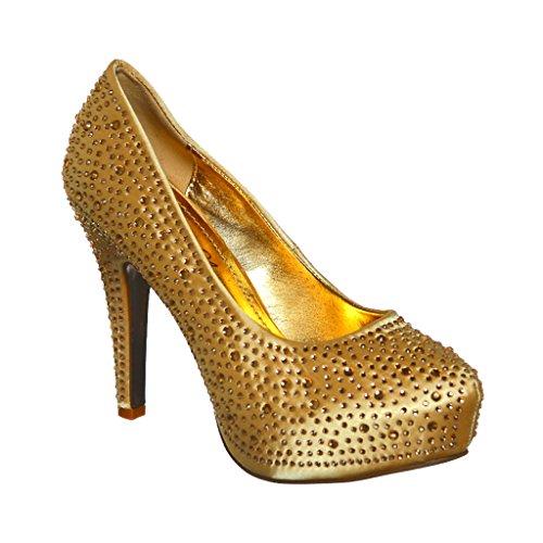 Rhinestones Almond Toe Platform Satin Pumps Mid Heels(8, Gold)[Apparel] Almond Toe Pump