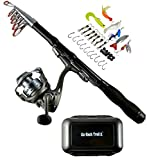 Fishing Rod Combo with Tackle - 1.5 M Carbon Fiber Collapsible Telescoping Spinning