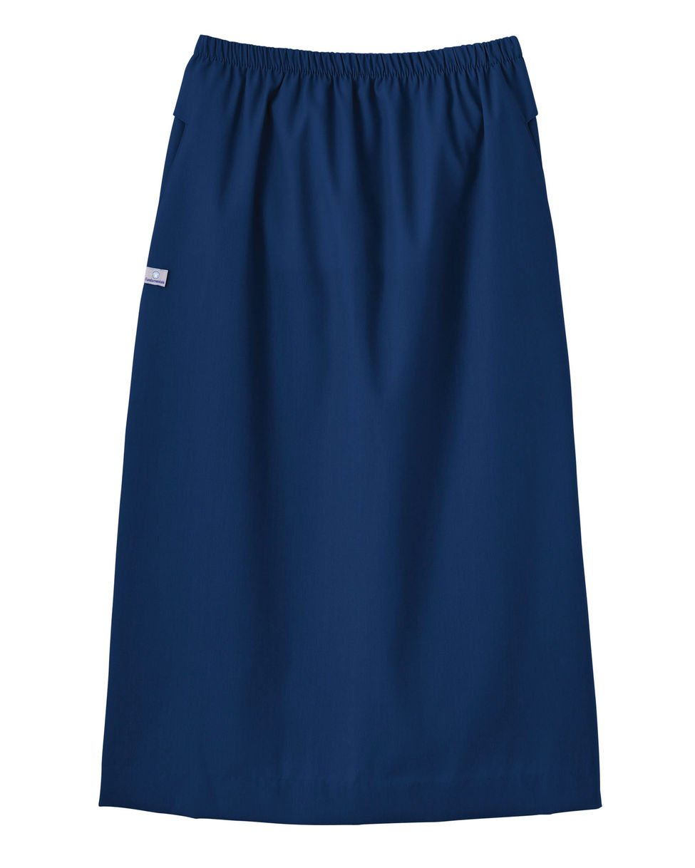 Trust Your Journey Fundamentals by White Swan Women's Elastic Waist Solid Scrub Skirt Large Navy