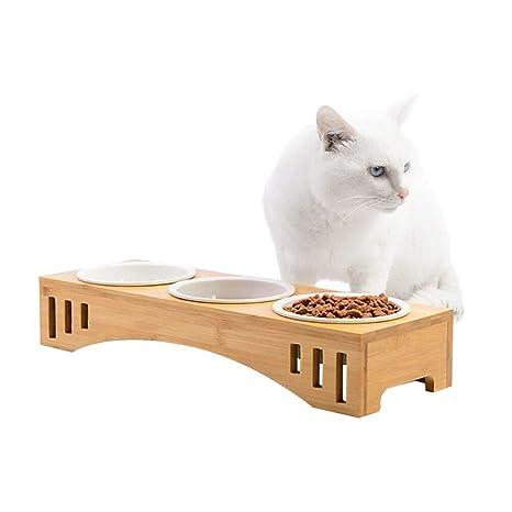Petacc Comedero para Gatos Tazón Elevado para Mascotas Combinado con Soporte de Bambú y Cuencos de