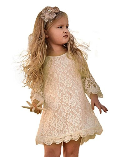 Flower Girl Dress, Lace Dress 3/4 Sleeve Dress (Ivory, 6-7 Years)