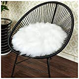 Junovo Premium Soft Round Faux Fur Sheepskin Seat Cushion Chair Cover Plush Area Rugs for Bedroom,14' x 14',White
