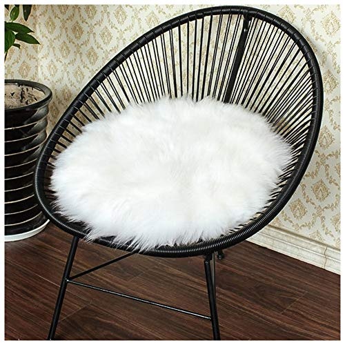 Junovo Premium Soft Round Faux Fur Sheepskin Seat Cushion Chair Cover Plush Area Rugs for Bedroom