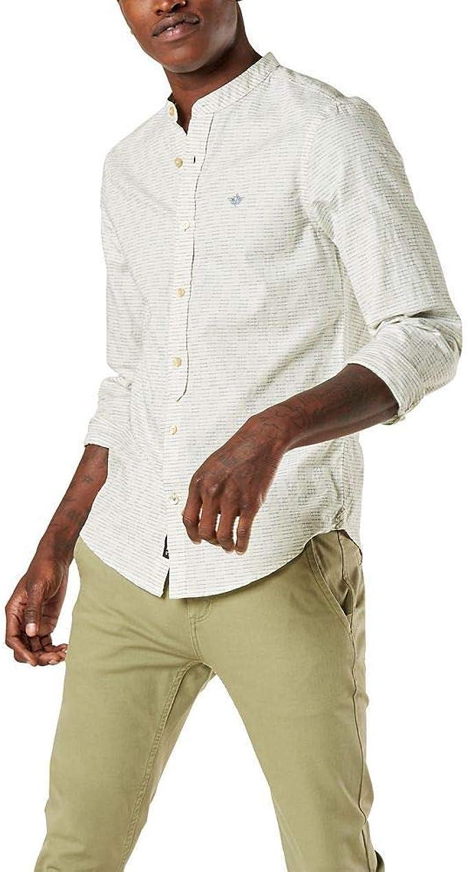 Dockers Camisa de manga larga con cuello de banda y botones para hombre: Amazon.es: Ropa y accesorios