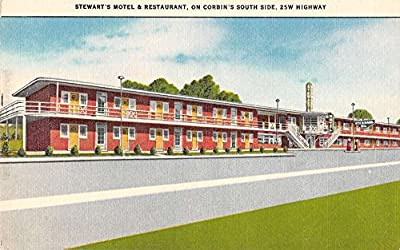Corbin Kentucky view of Stewarts Motel Restaurant linen antique pc Z13419