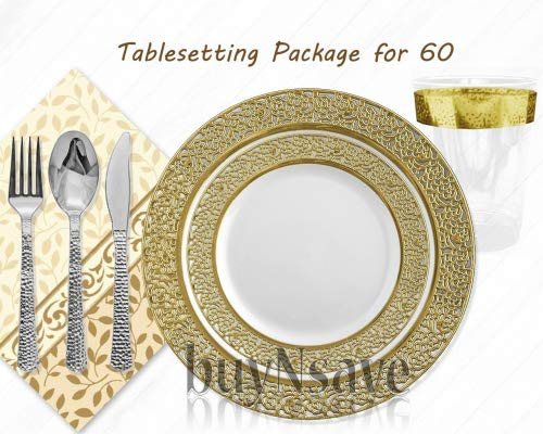 Elegant Wedding Party Disposable Plastic Plates Inspiration White with Gold,for 60 Guests,Dinner Plates10.25