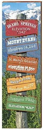 9.5x30 Idaho Springs Colorado Directional Sign Home Decor Art Print on Real Wood