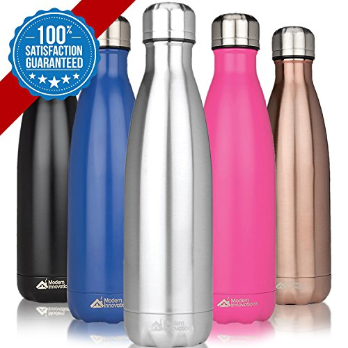 Modern Innovations 17oz Double Wall Vacuum Insulated Stainless Steel Water Bottle Leak Proof Keeps Drinks Hot and Cold for Outdoor Sports Camping Hiking (Chrome Steel Bicycle)
