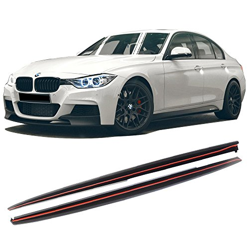 Side Skirts Fits 2012-2018 F30 3 Series | M-Tech Style Unpainted Black Exterior Side Bottom Line Extensions Splitter Lip by IKONMOTORSPORTS | 2013 2014 2015 2016 2017