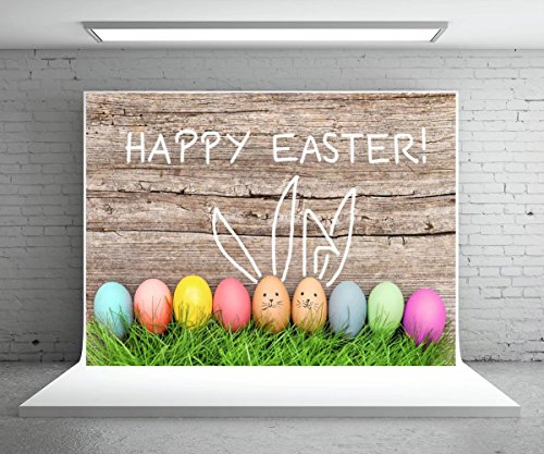 (7x5ft Grey Wood Easter Photography Backdrops Colorful Eggs Photo Booth Background for Parties Seamless Photo Booth Backdrop)