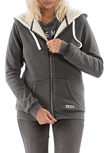 Billabong Essential ZH SHERPA, sudadera Cremallera Con Capucha Para Mujer Off Black