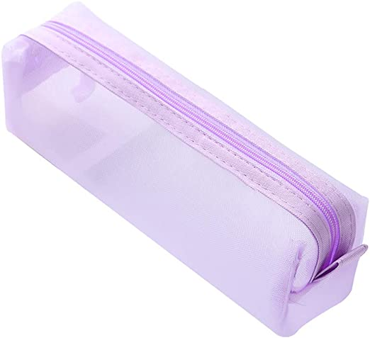 KeKeandYaoYao - Estuche de malla transparente con cremallera para lápices morado: Amazon.es: Hogar