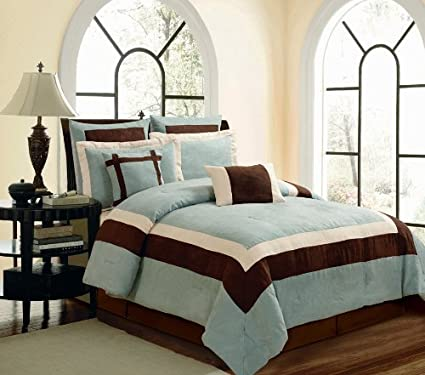 49a20c77aa5 Image Unavailable. Image not available for. Color  8 Piece Elegant BLUE  BROWN BEIGE Micro Suede Comforter Set   Bed In A Bag -