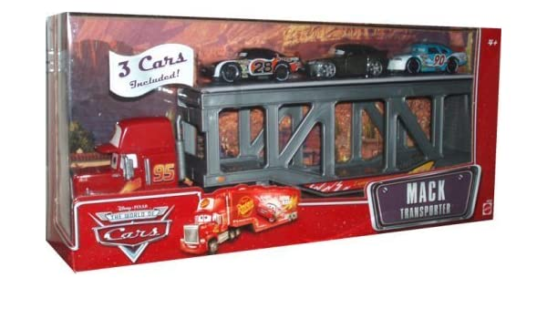 Disney Pixar The World of Cars Playset - Mack Transporter with Bonus of 3 Pack 1:64 Scale Die Cast Car (# 28 Nitroade, Bob Cutlass and #90 Bumper Safe) by Disney: Amazon.es: Juguetes y juegos