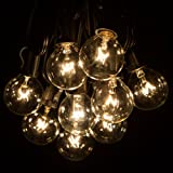 50 Foot G40 Patio Globe String Lights with Clear Bulbs for Outdoor String Lighting (Black Wire)