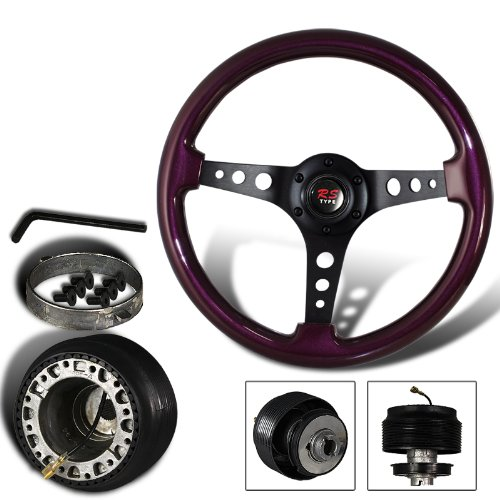 345mm 6 Hole Purple Wood Grain Style Deep Dish Steering Wheel + Accord/Prelude Hub Adapter