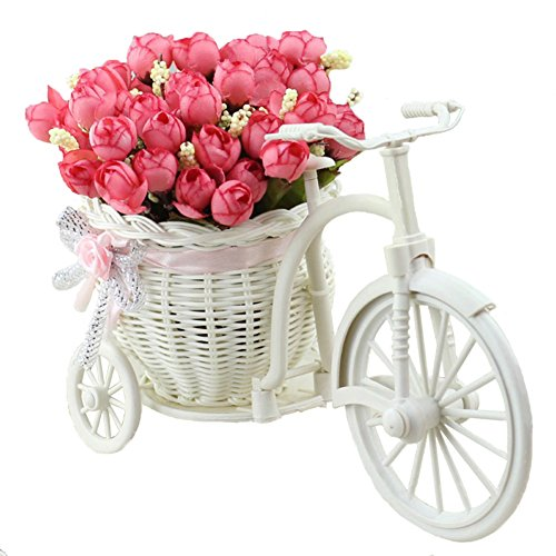 JAROWN Nostalgic Bicycle Plant Stand Artificial Rose Silk Flowers Hand-woven Baskets Mini Garden for Home Decoration(Autumn ()