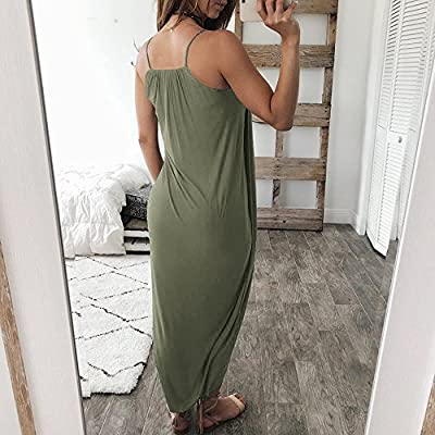 Ghazzi Women Dress Summer Casual Loose Sleeveless Long Dress Straps Homewear Dress Elegant Holiday Casual Party Beach Dress at  Women's Clothing store