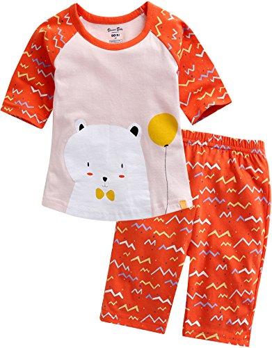 Vaenait baby Girls 3/4 Sleeve Raglan Top and Shorts 2pcs Set Happiness Orange M