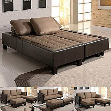 Amazon.com: Fulton Tan Microfiber Convertible Sofa Bed Couch Sleeper ...