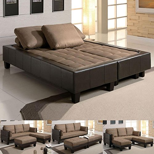 Fulton Tan Microfiber Convertible Sofa Bed Couch Sleeper 2 Ottoman Sectional Set (Sofa Tone Two Microfiber)