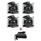4x Black Gamecube Controllers + Wii U Adapter for Super Smash Bros